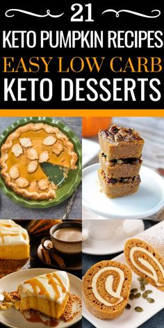 These easy keto pumpkin recipes are the perfect low carb desserts for the ketogenic diet this fall! Continue to lose weight while enjoying these delicious keto pumpkin recipes like fat bombs, cheesecakes with almond flour crusts, Desserts Keto, Keto Friendly Desserts, Easy Desserts, Keto Recipes, Dessert Recipes, Keto Chia Seed Recipes, Almond Flour Desserts, Healthy Low Carb Recipes, Dishes Recipes