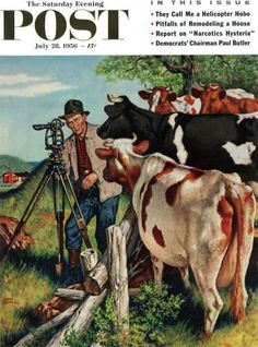Saterday Evening Post - Surveying the Cow Pasture - Amos Sewell, July 28, 1956