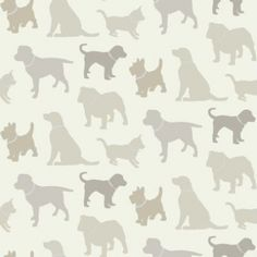 Walkies Neutral (622008) - Arthouse Wallpapers - An all over, cut out design wallcovering with various breeds of dogs. Shown here in cream and silver with metallic highlights. Other colourways are available. Please request a sample for a true colour match.