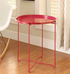 Contemporary Pink Metal Snack Table