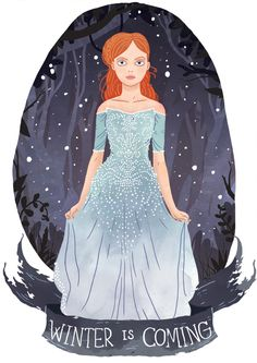 Sansa Stark from A Song of Ice And Fire by George R. R. Martin. Illustration by Azim Al Ghussein.