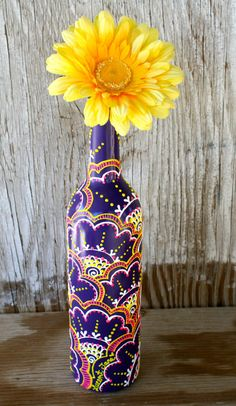 Hand Painted Wine bottle Vase Brightly Colored by LucentJane