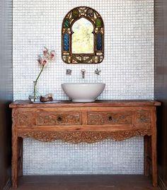guest bathroom - balinese table converted to vanity