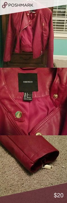 Leather jacket Its not as bright as it looks on camera. It's buttons and zippers are all rose gold. Its too big for me so i thought id just sell it. Pretty nice leather  ??Can be used in bundles ??Will negotiate prices ??trades welcome aswell Forever 21 Jackets & Coats