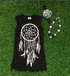 Black & White Dreamcatcher Fringe Boutique Dress