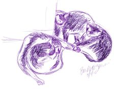 Daily Sketch: Four Cats in Purple