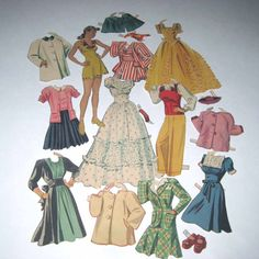 Vintage 1940s Paper Dolls with Pretty Woman by grandmothersattic