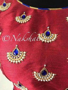 Pattu Saree Blouse Designs, Simple Blouse Designs, Blouse Designs Silk, Designer Blouse Patterns, Bridal Blouse Designs, Kurti Neck Designs, Hand Embroidery Dress, Kurti Embroidery Design, Embroidery Suits