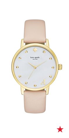 This monogram kate spade new york Metro leather strap watch is so cute. It'd make the perfect birthday gift *hint hint — repin to your wishlist board*