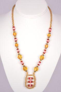 19 Inch Necklace Cherry Quartz Czech Japanese by FiveLeavesFound, $49.00