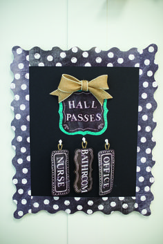 This is a super cute Hall Pass space. Use the Chalk It Up! Card Cut-Outs to make your own hall passes for the classroom, and don't forget to add some polka dots with the Dots on Chalkboard White Border. and maybe a little burlap ribbon :) 5th Grade Classroom, Middle School Classroom, Classroom Design, Kindergarten Classroom, Future Classroom, Classroom Themes, Classroom Organization, Classroom Management, Classroom Passes