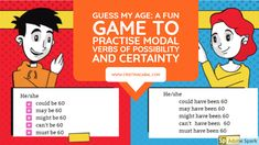 Guess my Age: a Fun Game to Practise Modal Verbs of Possibility and Certainty Teaching English, Learn English, Interactive Presentation, Song One, Geek Out, Student Work, Fun Games, How To Find Out, Blog