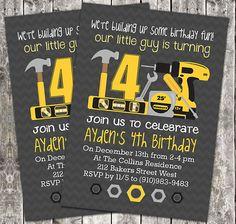 PRINTABLE Boy Birthday Party Invitation - Construction Tools. $6.50, via Etsy.