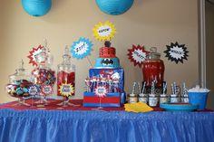 Superhero Birthday Party First Superhero, Superhero Birthday Party, 4th Birthday Parties, Birthday Ideas, Birthday Cake, Diy Cape, Favor Bags, Showers, Favors