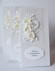 Colorin: 44 Invitations for First Holy Communion First Communion Cards, Holy Communion Cakes, Holy Communion Invitations, Communion Gifts, First Holy Communion, Baptism Favors, Flower Cards, Wedding Cards, Cardmaking