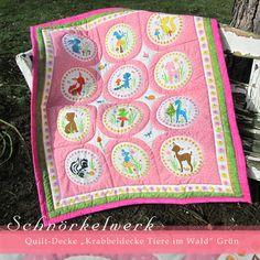 """Quilt-Decke; Krabbeldecke """"Tiere im Wald"""" Pink/Rose"""