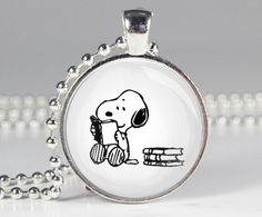 Snoopy and Books Charm Necklace - Reader Gift - Book Lovers (B3037)