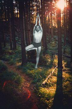 Iyengar in Vrksasana tree pose, yoga