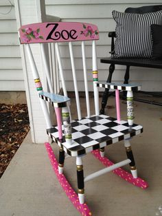 Hand Painted Childs Rocking Chair by paintingbymichele on Etsy, $275.00