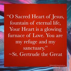 """Daily Inspiration (Catholic) on Instagram: """"O Sacred Heart of Jesus, fountain of eternal life, Your Heart is a glowing furnace of Love. You are my refuge and my sanctuary. - St.…"""""""