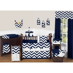 FREE SHIPPING! Shop Wayfair for Sweet Jojo Designs Navy Blue and White Chevron 9 Piece Crib Bedding Set - Great Deals on all Furniture products with the best selection to choose from!