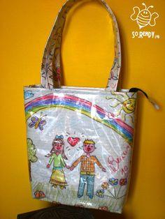 Borsa a Pastelli, Shopper disegnata a mano #soreadystyle #riciclo #pvc #bag #banner #summer #disegni #fun - di So.Ready Lab - soreadylab.etsy.com