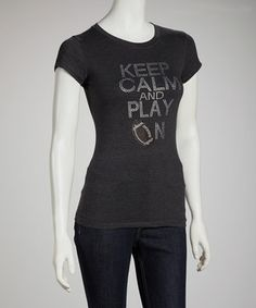 """Bring new meaning to the term """"beaming with pride"""" with this rhinestone-adorned tee. Soft, stretchy and cut for curves, this American-made number puts a feminine touch on football fan attire."""