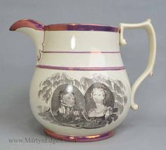 Pearlware jug commemorating the death of Princess Charlotte in 1817