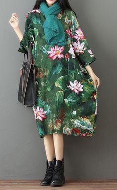 green-prints-linen-maxi-dress-casual-traveling-dress-casual-bracelet-sleeve-gown