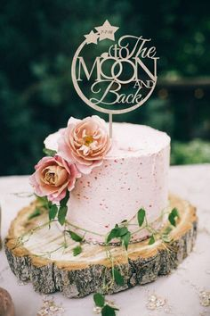 Wedding Cake Topper  to the moon and Back  Rustic Custom Cake Topper I love you   Personalized  Wood Cake Topper Silver Cake Topper
