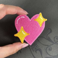 pink heart patch star embroidered patch iron on patch badge