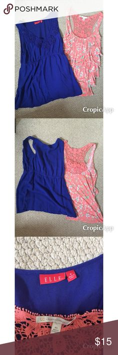 2 girly tank tops size XS & S. Lauren Conrad, ELLE Bundle of 2 adorable tanks. The ruffled coral pink shirt is Lauren Conrad size XS. It has a crocheted lace detail on the back. The cobalt blue tank has flower detailing on the front and a cinched waist. It is ELLE size S. Price is for both tanks. If you would like one separate let me know and the price would be $8. Elle Tops Tank Tops