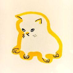 Kitten by Marie Åhfeldt, Mås Illustra. www.masillustra.se #yellow #cat #cute #illustration #masillustra