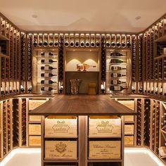 Beautifully finished oiled walnut wine cellar. #Wine #home #winecellar, #interior
