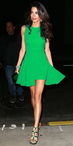 Amal Clooney in a green Versace mini dress - click ahead for more of her best street style looks
