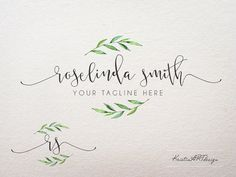 Leaves logo Watercolor leaves logo design by KristinARTdesign