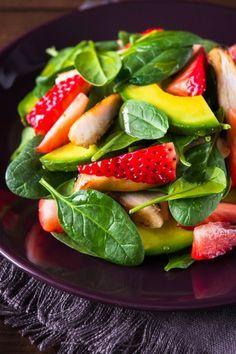 Ensalada de Espinaca con Fresa y Aguacate - Face Tutorial and Ideas Vegetarian Recipes, Cooking Recipes, Healthy Recipes, Salade Healthy, Healthy Snacks, Healthy Eating, Love Food, Avocado, Food And Drink
