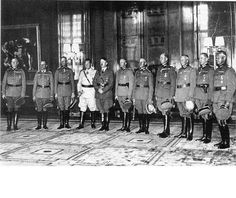 On 19th July 1940 Hitler promoted 12 of his generals to Field Marshal and appointed Hermann Göring as Reichsmarschall of the Greater German Reich. From left to right:     1. Keitel  2. von Rundstedt  3. von Bock  4. Göring  5. Hitler  6. Brauchitsch  7. Ritter von Leeb  8. List  9. von Kluge  10. von Witzleben  11. von Reichenau.   Luftwaffe Marshalls Milch, Sperrle and Kesselring not present.
