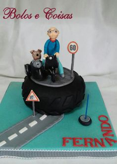 Bolos e coisas - Bolos decorados (Cake Design): 60 Anos * Fernando (60 years * vespa * cat * dog)