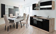 respekta Küche Küchenzeile Einbauküche 220 cm Eiche Sonoma Sägerau Schwarz KB220ESS