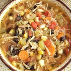 The southwest flavors that you love about chicken tortilla soup combined with healthy, hearty vegetables and spices. Thischicken tortilla vegetable soupis so delicious and sure to be a family favorite. Top with crispy corn tortilla strips and cilantro.