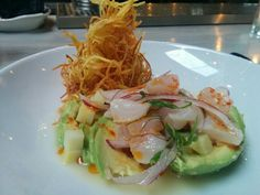 Manolin:  the rockfish ceviche, piled on a bed of avocado and topped with mounding strings of sweet potato and spiked with darts of lime and chili