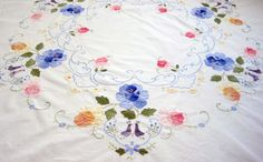 """Vintage Tablecloth Applique Round with Love Birds, Spring Tablecloth, Flowers, Blue, Pink, Yellow on White - Extravagant Detail, 34"""" Round"""