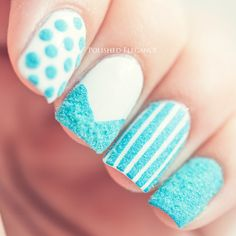 Flocking Powder Nail Art Blue Manicure Polish Furry Nails