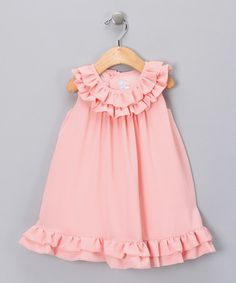Peach Chiffon Ruffle Dress - Toddler & Girls