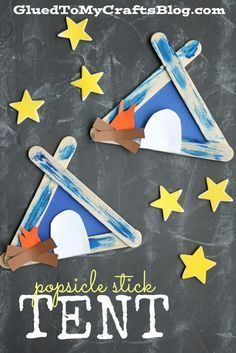 Cute summer craft! Popsicle stick tent craft for kids! Great camping themed art project
