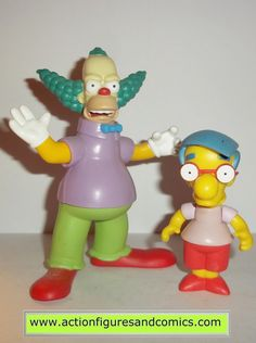 Playmates toys THE SIMPSONS the world of springfield action figures for sale to buy diarama exculsive variant sculpts, KRUSTY the CLOWN & MILHOUSE These were rereleases of the first season figures, al