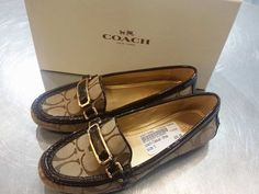 How lovely are these little loafers – We love how they can instantly boost a pair of skinnies into a fabulous work look! #PlatosClosetBrampton //#Coach loafers, 5, new $30//   www.platosclosetbampton.com