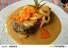 Roštěnky na způsob Esterházy Stew, Hamburger, Treats, Ethnic Recipes, Czech Food, Red Peppers, Cooking, Sweet Like Candy, Goodies