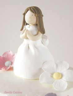 Communion Cake Girl & Flowers (no fondant, covered with buttercream)
